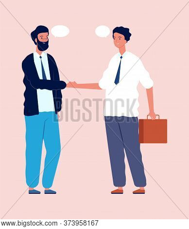 Business Deal. Businessmen Shake Hands, Talking About Project. Managers At Work, Agreement Or Good T