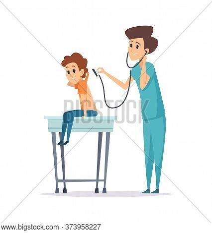 Pediatrician Diagnosis. Boy Visit Doctor, Hospital Patient. Flat Child With Nurse, Health Protection