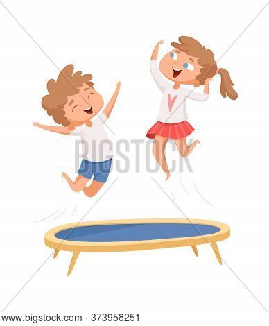 Trampoline Jumping. Children Sport Games. Happy Cartoon Kids Have Fun. Isolated Boy Girl Playing Vec