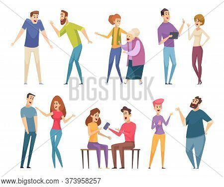People Talking. Conversation Crowd Communication Characters Persons Group Vector Illustrations. Soci