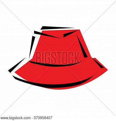 Woman Hat With A Wide Brim. Red Womans Hat Isolated On Transparent Background. Vector Illustration I