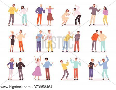 Quarrel People. Unhappy Conflict Family Bad Relationship Trouble Couples Screaming Disrespected Char
