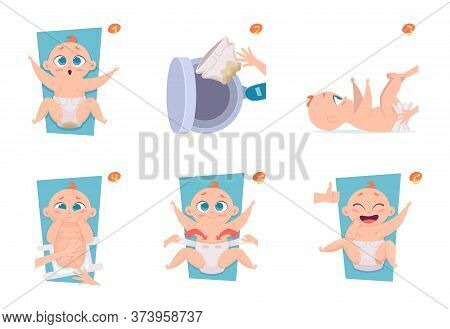 Changing Diapers Steps. Healthcare Medical Announce Pictures To Parents Baby Care Vector Illustratio