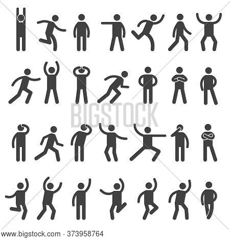 Stick Characters. Posture Icon Action Figures Symbols Human Body Silhouettes Vector Simple Collectio
