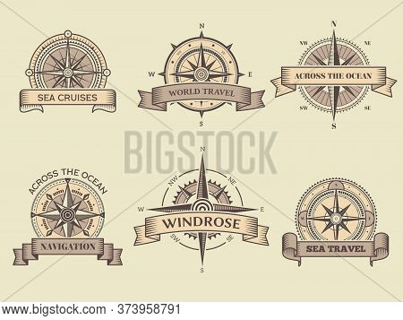 Nautical Labels. Wind Rose Sea Compass Vector Badges Marine Travel Adventure Collection Design Templ