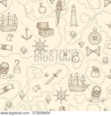 Pirate Map Seamless. Nautical Vintage Detailed Adventure Map With Treasures And Sea Objects Ships We