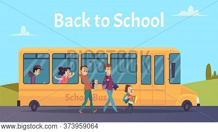School Bus. Students Transportation, Happy Boya Girls Go To Study Vector Illustration. Childhood And