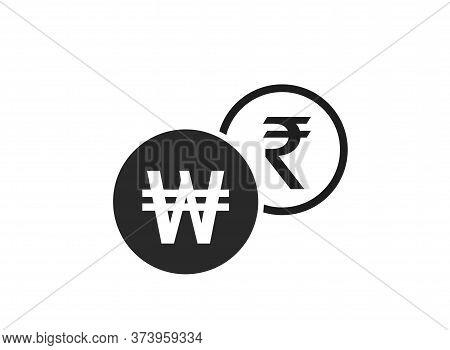 Korean Won To Indian Rupee Currency Exchange Icon. Money Exchange And Banking Transfer Symbol