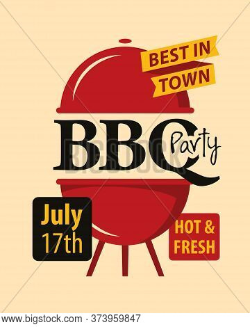 Bbq Or Barbecue Party Invitation Card. Vector Banner In Flat Style With Barbeque Grill And Inscripti