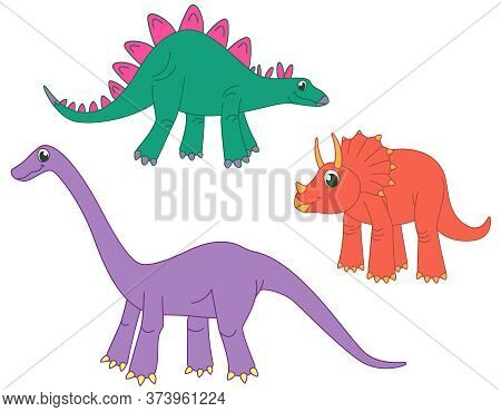Set Of Herbivorous Dinosaurs. Stegosaurus, Triceratops And Diplodocus In Funny Cartoon Style.
