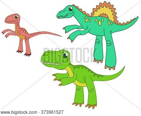 Set Of Carnivorous Dinosaurs. Velociraptor, Spinosaurus And Tyrannosaurus In Funny Cartoon Style.