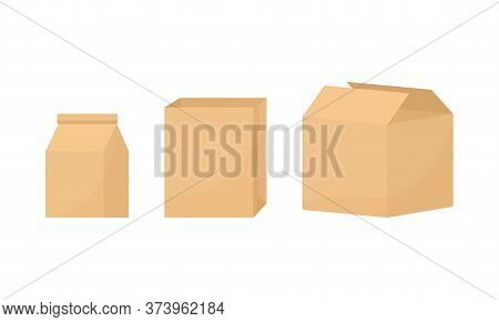 Cardboard Boxes For Delivery, Blank Paper Packages Isolated On White Background. Vector Illustration