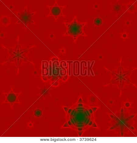 Snowflake Red Green Background