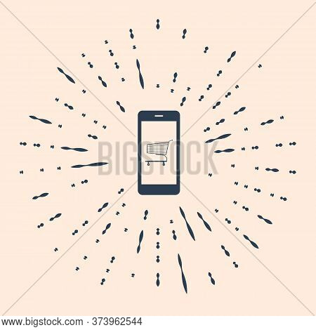 Black Online Shopping Concept. Shopping Cart On Screen Smartphone Icon On Beige Background. Concept