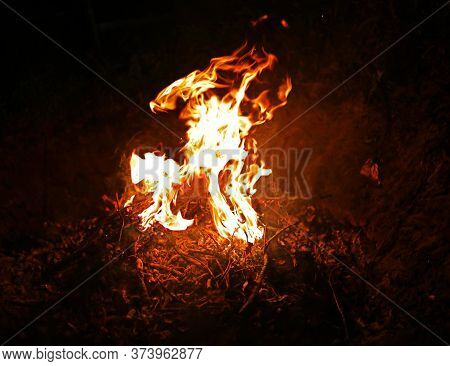 Burning Fire On A Dark Blurry Background By The Light Of A Lantern In Smoke, Protest, Revolution, Ge
