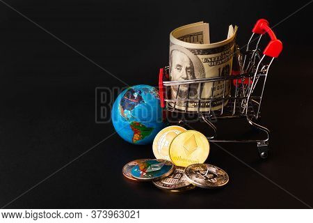 Shopping Cart With Golden Ether Coins Or Ethereum Network Exchange And 100 Dollars In The Cart, Elec