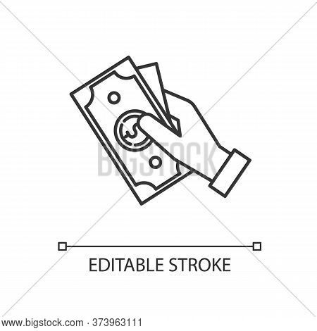 Hand Hold Money Linear Icon. Cash For Client. Business Revenue. Employee Salary. Bank Benefit. Thin