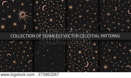 Collection Of 8 Night Sky Seamless Patterns. Space With Stars, Suns And Moons. Vector Astrological C