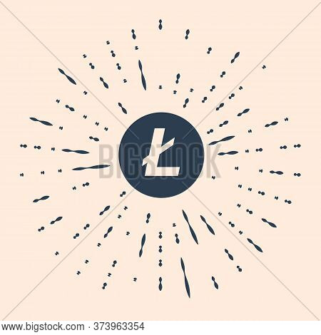 Black Cryptocurrency Coin Litecoin Ltc Icon Isolated On Beige Background. Physical Bit Coin. Digital