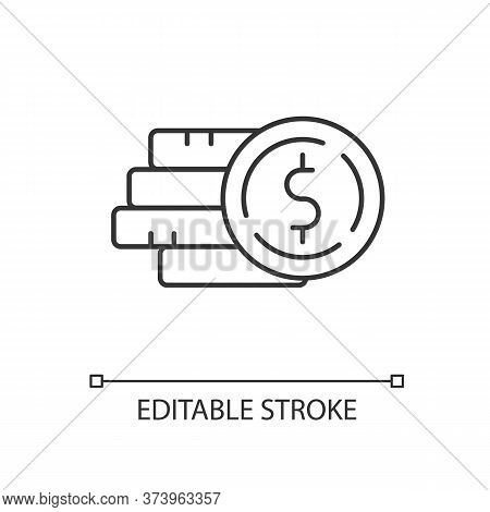 Pile Of Money Linear Icon. Stack Of Gold Coins. Monetary Gain. Financial Operation. Thin Line Custom