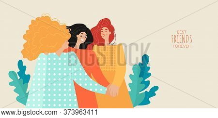 Friendship Day Vector Banner Template With Three Cute Girls Holding Hands. Best Friends Forever. Car