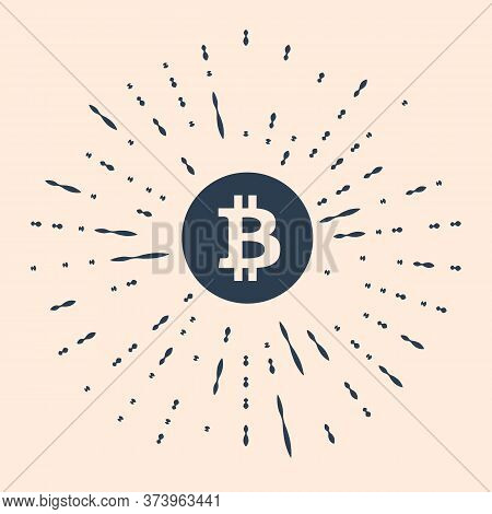 Black Cryptocurrency Coin Bitcoin Icon Isolated On Beige Background. Bitcoin For Internet Money. Phy