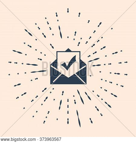 Black Envelope With Document And Check Mark Icon On Beige Background. Successful E-mail Delivery, Em