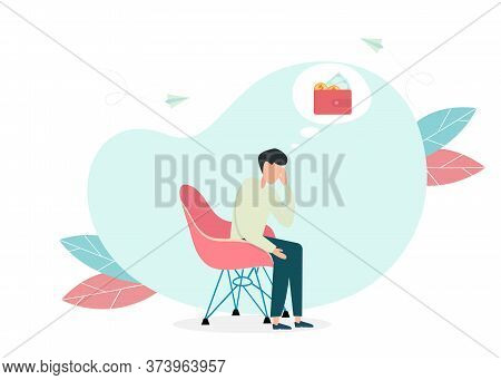 Depressed Sad Man Sitting At Home And Thinking Over Financial Problems And Debts. Illustration For B