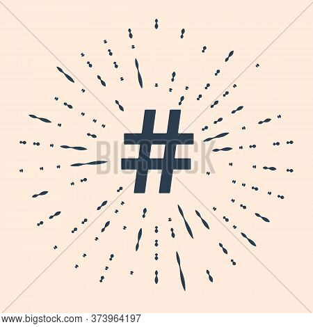 Black Hashtag Icon Isolated On Beige Background. Social Media Symbol. Modern Ui Website Navigation.
