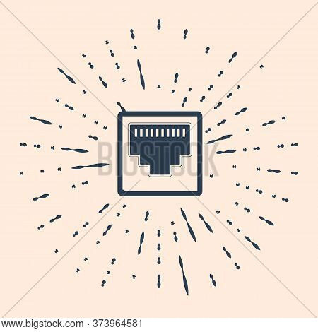Black Network Port - Cable Socket Icon Isolated On Beige Background. Lan Port Icon. Ethernet Simple