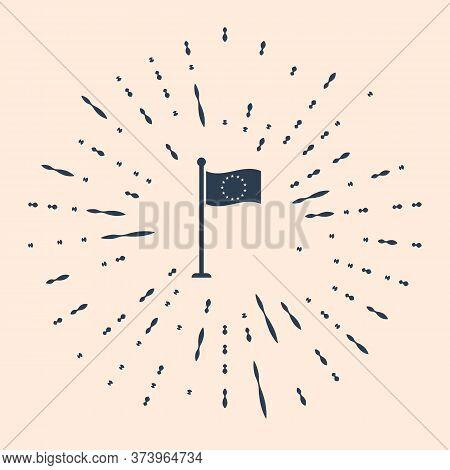 Black Flag Of European Union Icon Isolated On Beige Background. Eu Circle Symbol. Waving Eu Flag On