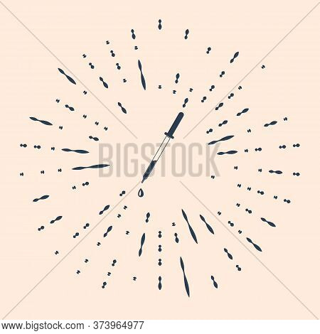 Black Pipette Icon Isolated On Beige Background. Element Of Medical, Chemistry Lab Equipment. Pipett
