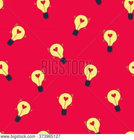 Light Bulb With Heart Seamless Vector Pattern. Hand Drawn Red Doodle Background With Bulbs. Creative