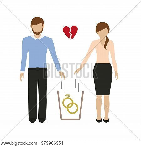 Woman And Man Throws Wedding Rings In The Trash Vector Illustration Eps10