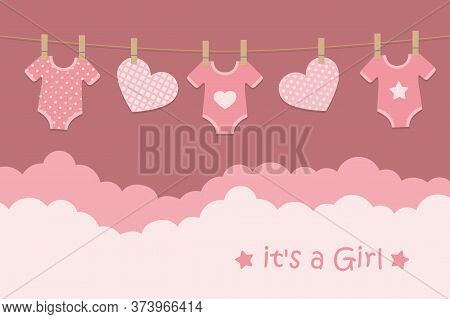 Its A Girl Welcome Greeting Card For Childbirth With Hanging Hearts And Bodysuits Vector Illustratio