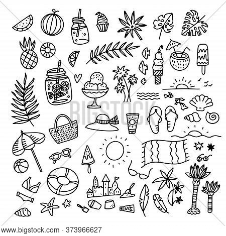 Icon Set Summer Beach Holidays, Travel, Vacation With Sand Castle, Shoes, Ice Cream, Shells, Ball, D