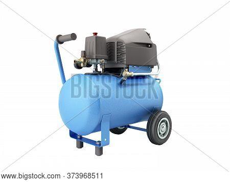 Modern Blue Air Compressor 3d Render On White No Shadow