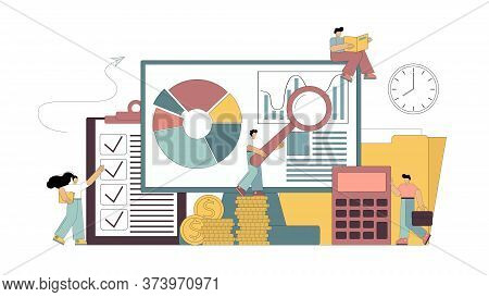 Consulting Auditor Audit Financial Reporting Concept. Flat People Study The Documentation, Count On