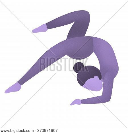 Purple Toned Girl Yoga Pose For Lifestyle Design. Stress Relief. Meditation Woman. Body Relaxation.