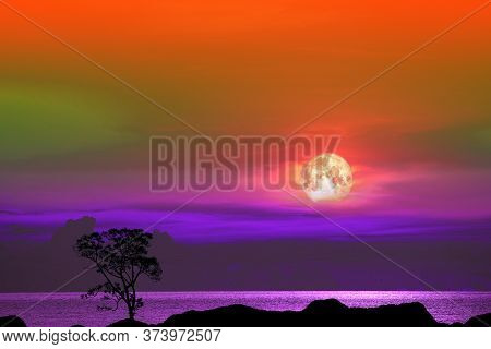 Full Corn Planting Moon And Tree On The Silhouette Mountain  On Sunset Sky