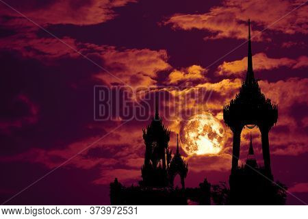 Full Crow Blood Moon And Silhouette Top Pagoda And Night Red Sky