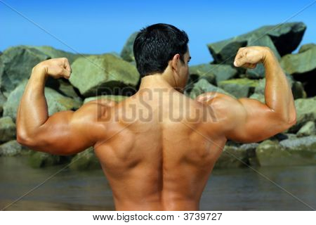 Body Builder Flexing His Back