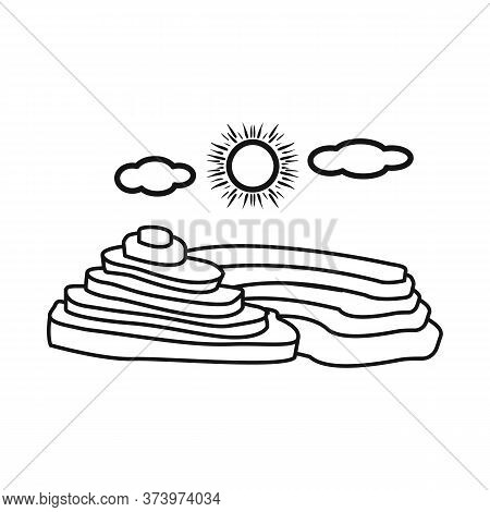 Vector Design Of Rice And Field Sign. Set Of Rice And Terrace Stock Symbol For Web.