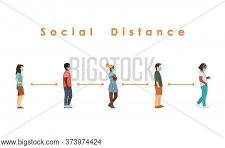 Social Distance. Full Length Sick People In Medical Masks Standing In Line Against At A Safe Distanc