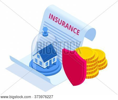 Insurance House And Capital, Money Concept. Insurance Services Concept. Protection From Danger, Prov