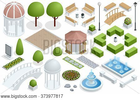 Isometric Icon Set For Construction Beautiful City Parks. Buildings City Garden Park Furniture. City