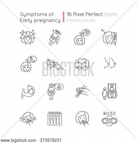 Early Pregnancy Symptom Pixel Perfect Linear Icons Set. Family Planning. Maternity And Motherhood. C