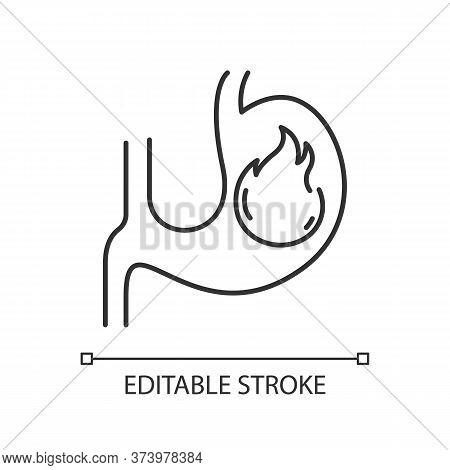 Heartburn Pixel Perfect Linear Icon. Stomach Ache. Food Poisoning. Gastrointestinal Problem. Thin Li