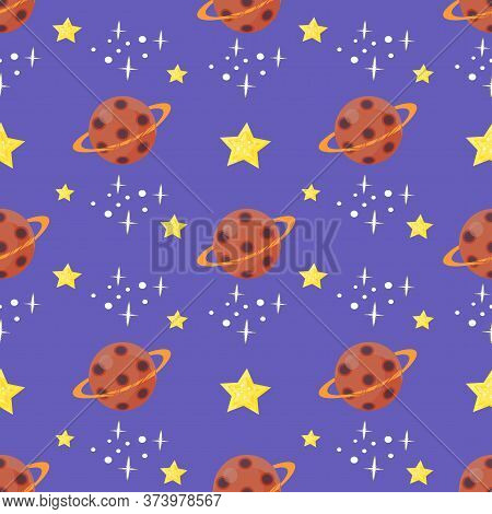 Seamless Pattern With Saturn And Stars On Violet Background. Vector Design.