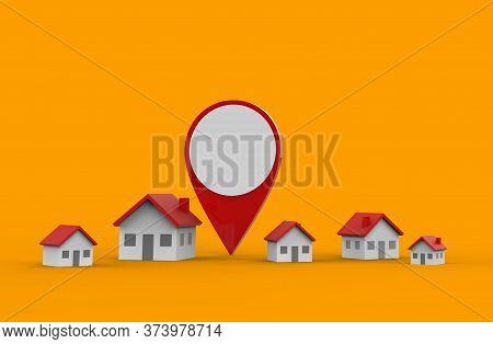 Location Icon And House Isolated On Orange Background. 3d Illustration.
